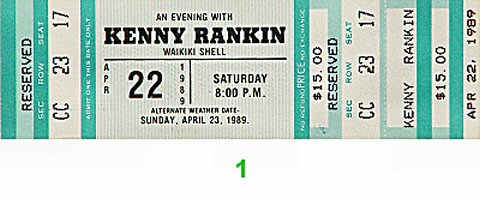 Kenny Rankin 1980s Ticket from Waikiki Shell on 22 Apr 89: Ticket One