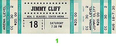 Jimmy Cliff 1990s Ticket from Waikiki Shell on 18 Aug 90: Ticket One