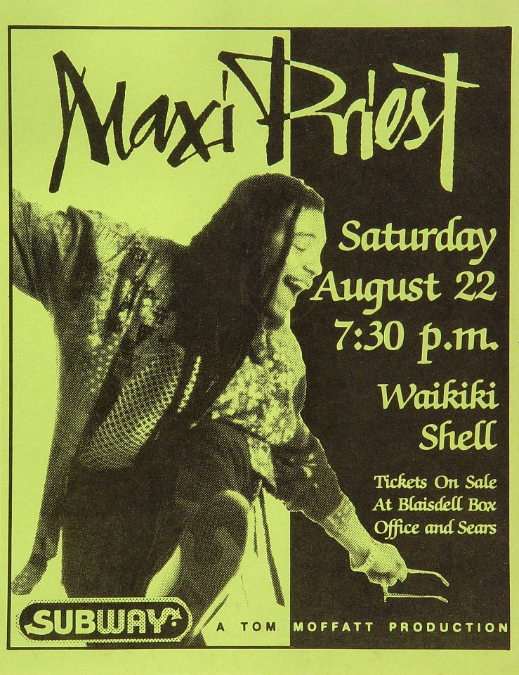 "Maxi Priest Handbill from Waikiki Shell on 22 Aug 92: 8 1/2"" x 11"""