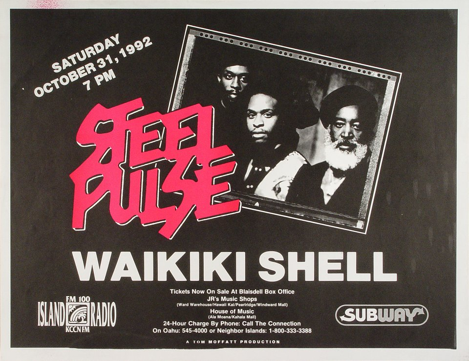 "Steel Pulse Poster from Waikiki Shell on 31 Oct 92: 16 1/2"" x 21 1/2"""