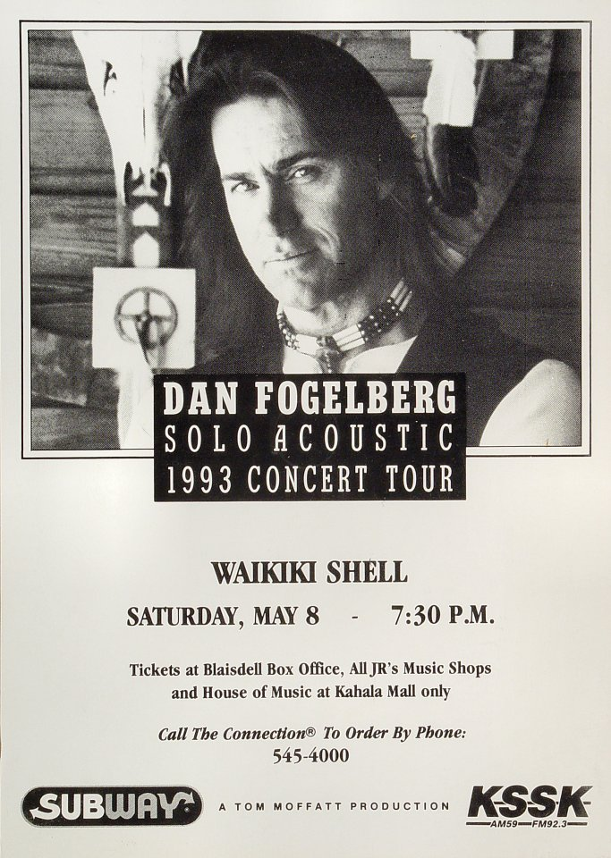 Dan Fogelberg Poster from Waikiki Shell on 08 May 93: 11 1/2&quot; x 16 1/8&quot;