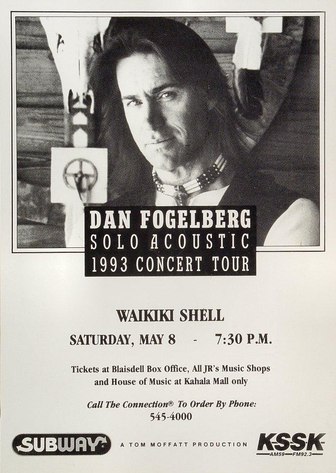 """Dan Fogelberg Poster from Waikiki Shell on 08 May 93: 11 1/2"""" x 16 1/8"""""""