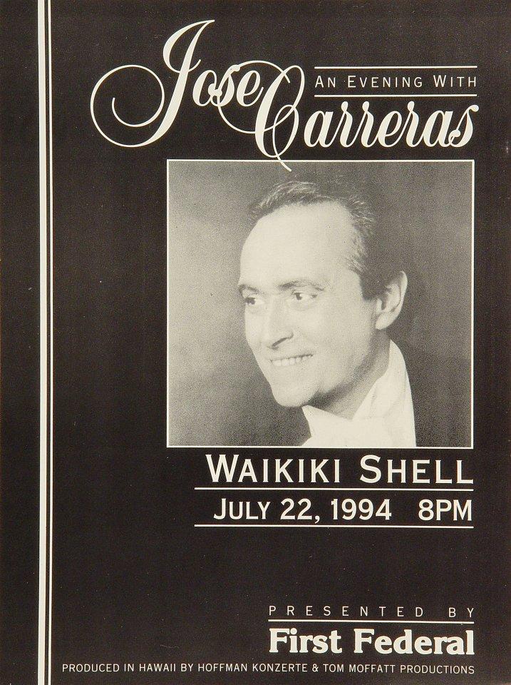 """Jose Carreras Handbill from Waikiki Shell on 22 Jul 94: 7 1/2"""" x 10"""""""
