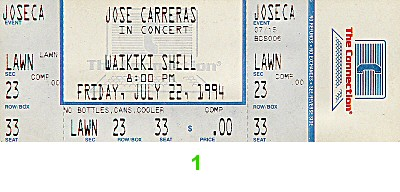 Jose Carreras 1990s Ticket from Waikiki Shell on 22 Jul 94: Ticket One