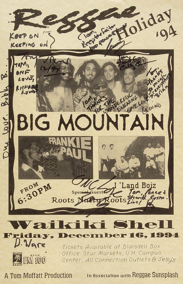 "Big Mountain Poster from Waikiki Shell on 16 Dec 94: 11"" x 17"""
