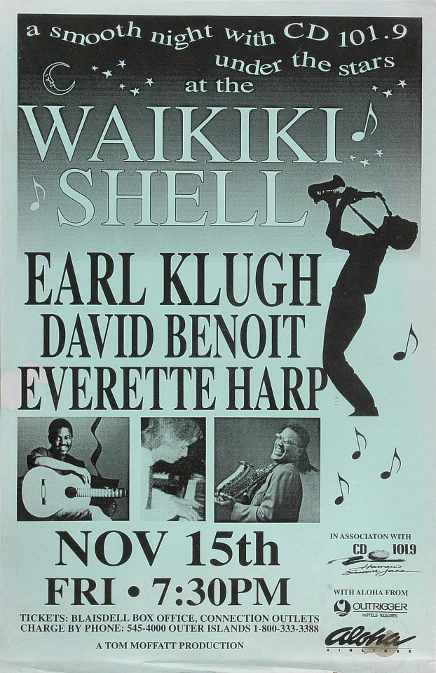 "Earl Klugh Poster from Waikiki Shell on 15 Nov 96: 11"" x 17"""
