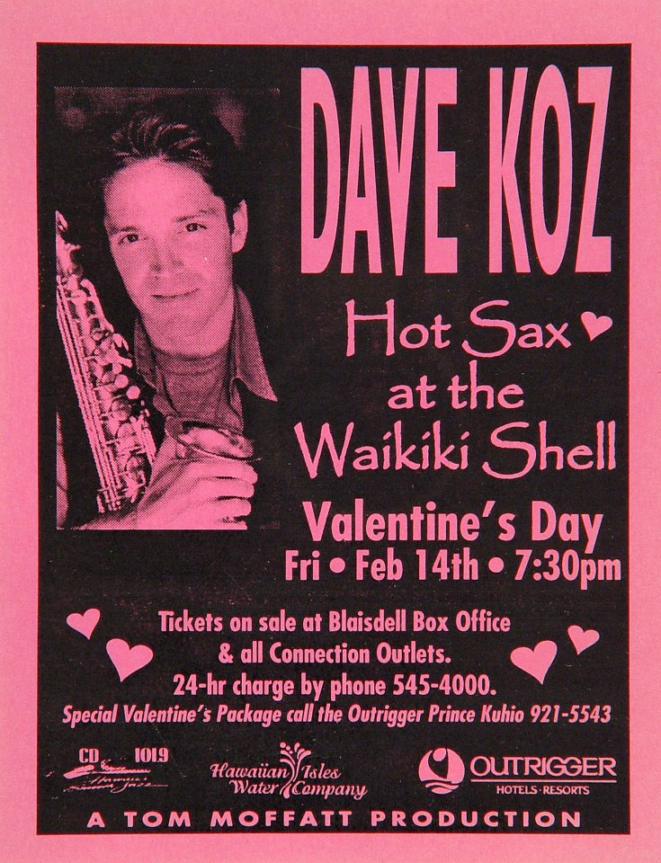 "Dave Koz Handbill from Waikiki Shell on 14 Feb 97: 4 1/4"" x 5 1/2"""