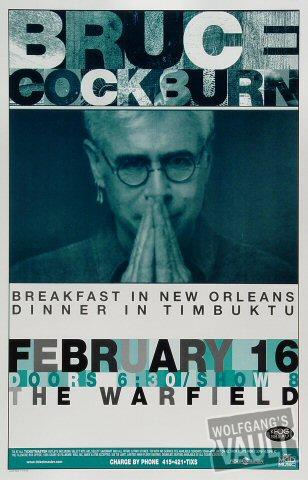 """Bruce Cockburn Poster from Warfield Theatre on 16 Feb 00: 11"""" x 17"""""""