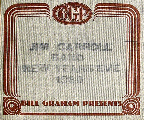 Jim Carroll Backstage Pass from Warfield Theatre on 31 Dec 80: Pass 1