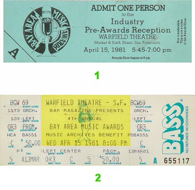 Various Artists 1980s Ticket from Warfield Theatre on 15 Apr 81: Ticket One