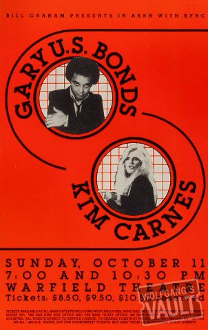 "Gary ""U.S."" Bonds Poster from Warfield Theatre on 11 Oct 81: 10 3/4"" x 17"""
