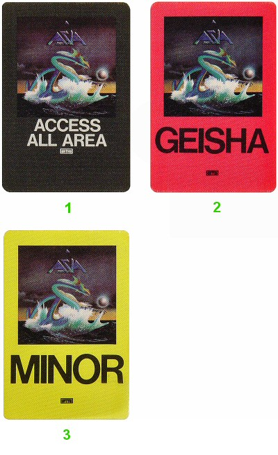 Asia Backstage Pass from Warfield Theatre on 21 May 82: Pass 3