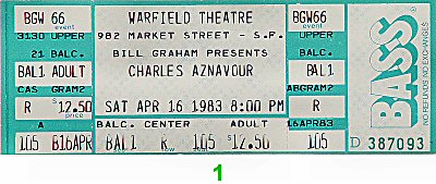 Charles Aznavour 1980s Ticket from Warfield Theatre on 16 Apr 83: Ticket One