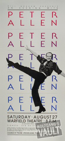 "Peter Allen Poster from Warfield Theatre on 27 Aug 83: 11"" x 24"""