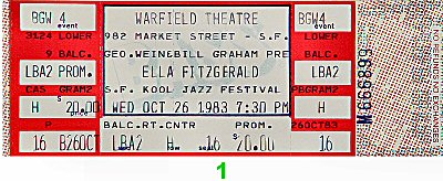 Ella Fitzgerald 1980s Ticket from Warfield Theatre on 26 Oct 83: Ticket One