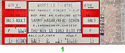 Sammy Hagar 1980s Ticket from Warfield Theatre on 10 Nov 83: Ticket One
