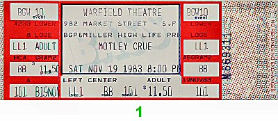 Motley Crue 1980s Ticket from Warfield Theatre on 19 Nov 83: Ticket One