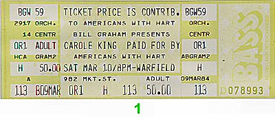 Carole King 1980s Ticket from Warfield Theatre on 10 Mar 84: Ticket One