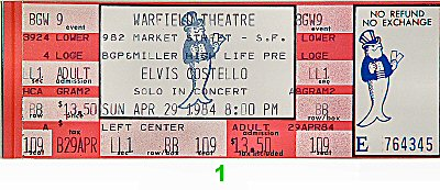 Elvis Costello 1980s Ticket from Warfield Theatre on 29 Apr 84: Ticket One