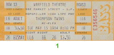 Thompson Twins 1980s Ticket from Warfield Theatre on 15 May 84: Ticket One