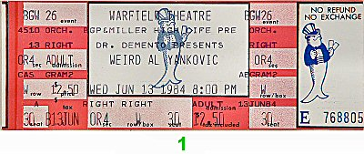 Weird Al Yankovic 1980s Ticket from Warfield Theatre on 13 Jun 84: Ticket One