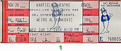 Weird Al Yankovic 1980s Ticket from Warfield Theatre on 13 Jun 84: Ticket One