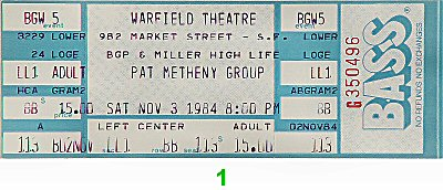 Pat Metheny Group 1980s Ticket from Warfield Theatre on 03 Nov 84: Ticket One