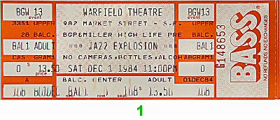 Roy Ayers 1980s Ticket from Warfield Theatre on 01 Dec 84: Ticket One