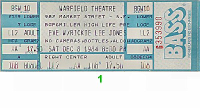 Rickie Lee Jones 1980s Ticket from Warfield Theatre on 08 Dec 84: Ticket One