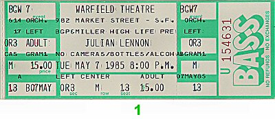 Julian Lennon 1980s Ticket from Warfield Theatre on 07 May 85: Ticket One