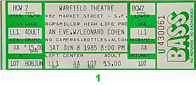 Leonard Cohen 1980s Ticket from Warfield Theatre on 08 Jun 85: Ticket One