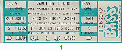 Paco de Lucia 1980s Ticket from Warfield Theatre on 18 Jun 85: Ticket One