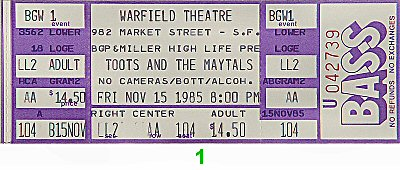 Toots & the Maytals 1980s Ticket from Warfield Theatre on 15 Nov 85: Ticket One