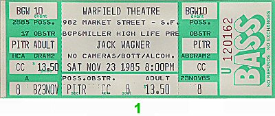 Jack Wagner 1980s Ticket from Warfield Theatre on 23 Nov 85: Ticket One