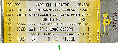 Sheila E. 1980s Ticket from Warfield Theatre on 08 Mar 86: Ticket One
