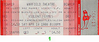 Violent Femmes 1980s Ticket from Warfield Theatre on 19 Apr 86: Ticket One