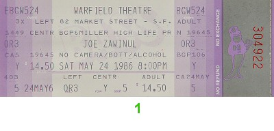 Joe Zawinul 1980s Ticket from Warfield Theatre on 24 May 86: Ticket One
