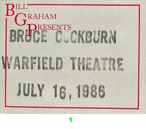 Bruce Cockburn Backstage Pass from Warfield Theatre on 16 Jul 86: Pass 1