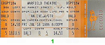 GTR 1980s Ticket from Warfield Theatre on 18 Jul 86: Ticket One