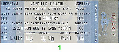 Big Country 1980s Ticket from Warfield Theatre on 17 Aug 86: Ticket One