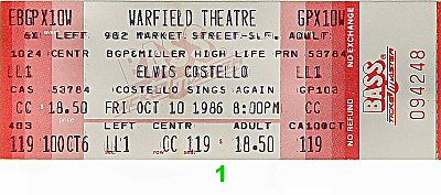 Elvis Costello 1980s Ticket from Warfield Theatre on 10 Oct 86: Ticket One