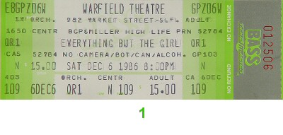 Everything But The Girl 1980s Ticket from Warfield Theatre on 06 Dec 86: Ticket One