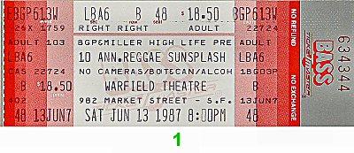Mutabaruka 1980s Ticket from Warfield Theatre on 13 Jun 87: Ticket One