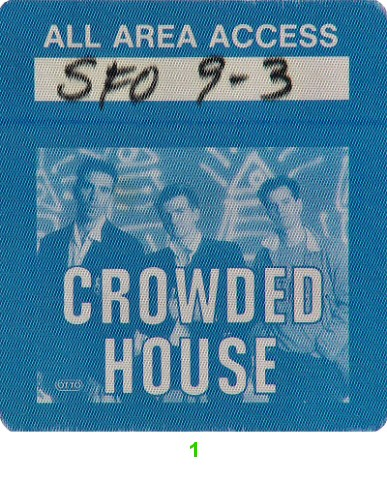 Crowded House Backstage Pass from Warfield Theatre on 03 Sep 87: Pass 1