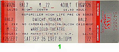 Dwight Yoakam 1980s Ticket from Warfield Theatre on 26 Sep 87: Ticket One