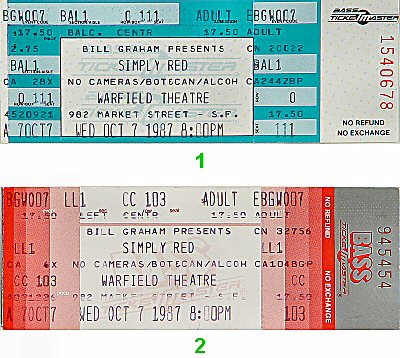 Simply Red 1980s Ticket from Warfield Theatre on 07 Oct 87: Ticket One