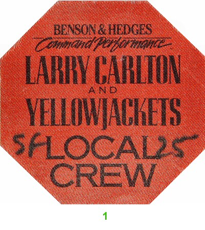 Larry Carlton Backstage Pass from Warfield Theatre on 25 Oct 87: Pass 1