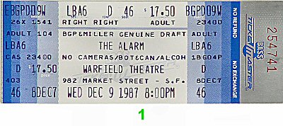 The Alarm 1980s Ticket from Warfield Theatre on 09 Dec 87: Ticket One