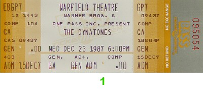The Dynatones 1980s Ticket from Warfield Theatre on 23 Dec 87: Ticket One