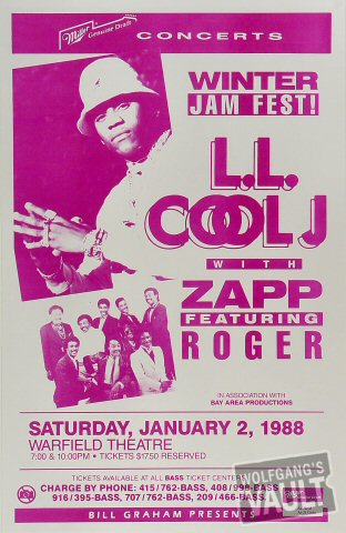 "LL Cool J Poster from Warfield Theatre on 02 Jan 88: 11"" x 17"""